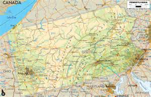 physical map of pennsylvania ezilon maps