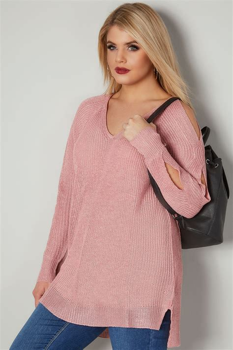 cut to size protector pink metallic jumper with cross cut out sleeves plus size