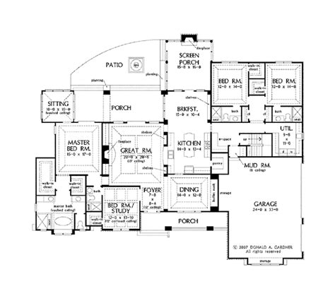 1 Level House Plans by Open Floor Plans For Single Story Country Homes