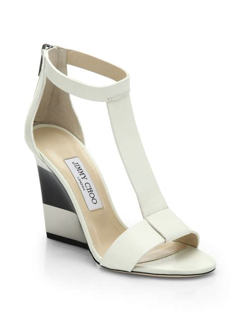 wedge sandals lyst jimmy choo maxy leather t platform wedge