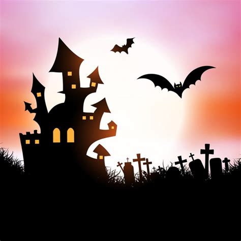 spooky house halloween background with spooky house and bats vector
