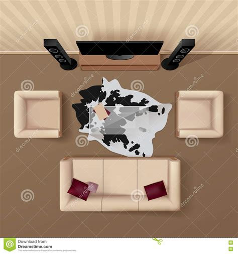 living room top view living room top view realistic image stock vector illustration of brown empty 71358258