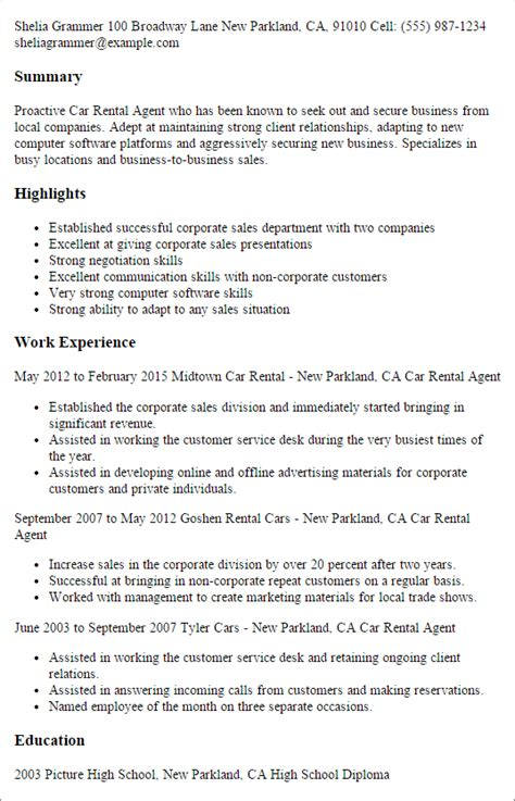 Apartment Rental Sle Resume by Professional Car Rental Templates To Showcase Your Talent Myperfectresume