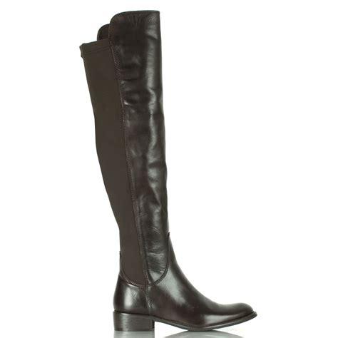 daniel naste brown leather flat knee boot