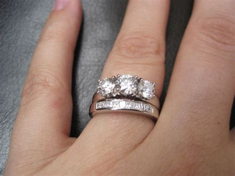 Wedding band with three stone e ring? Pics please