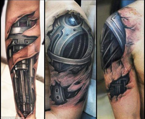 bionic arm sleeve tattoo designs yomico moreno hyper realistic tattoos show surreal images
