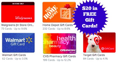 Walgreens Sell Gift Cards - hot get a free 20 gift card to walgreens target walmart or more today only