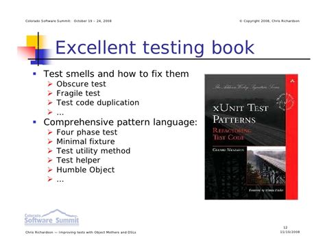 test pattern language improving tests with object mothers and internal dsls