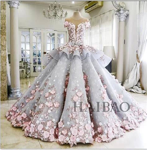 Ballgown Bridal Dress Pesta 19 2016 flower wedding gown abiti da sposa vestido de