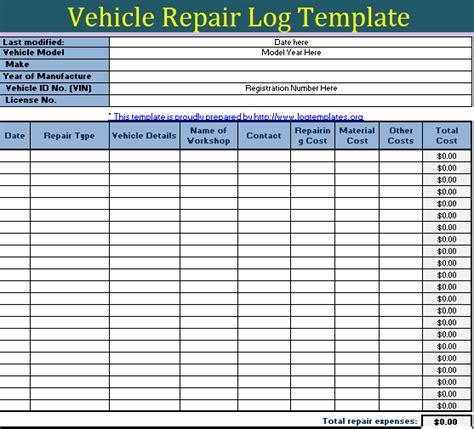 repair log template vehicle repairing log template free log templates