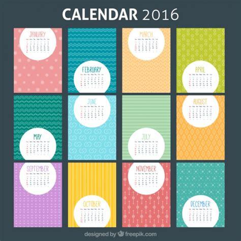 Calendario Meses Plantilla Colorida De Calendario 2016 Descargar Vectores