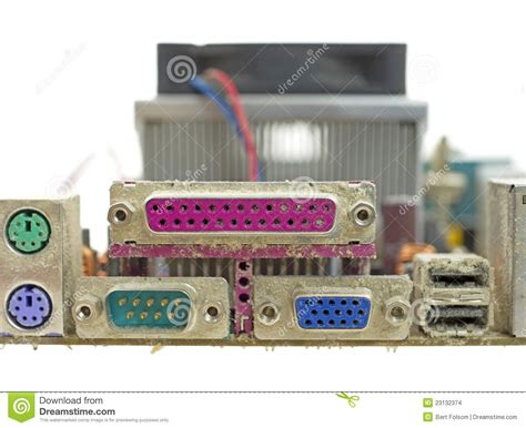 6 Audio Ports On Motherboard by View Dusty Back Panel Ports For Motherboard Stock