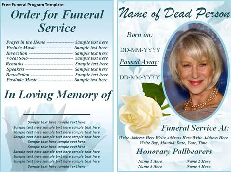 Funeral Program Template Word Free free funeral program template word excel pdf