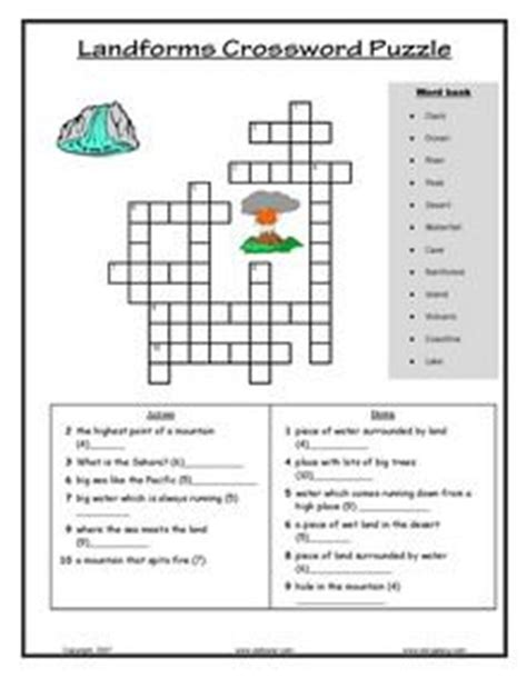 groundhog day director crossword teachers can give students one of these landform