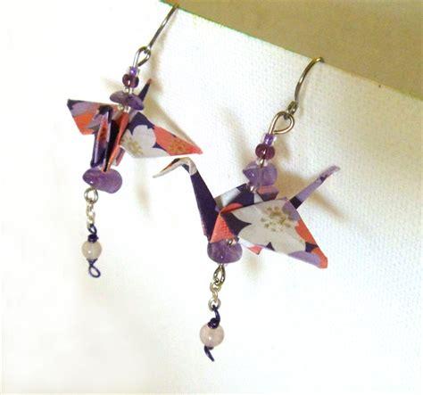 purple origami crane earrings noogal creations madeit