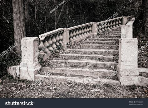 abandoned castle marble monumental staircase stock