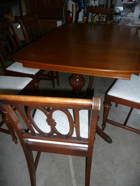 duncan phyfe mahogany dining table 6 chairs with