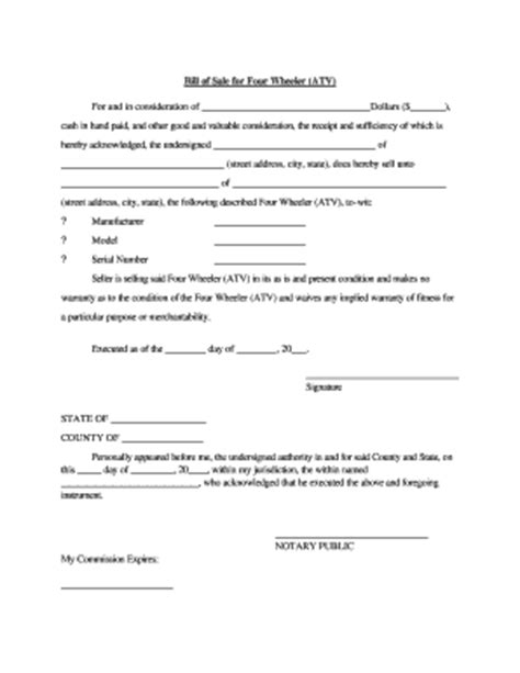 37 Printable Atv Bill Of Sale Template Forms Fillable Sles In Pdf Word To Download Pdffiller Atv Bill Of Sale Template