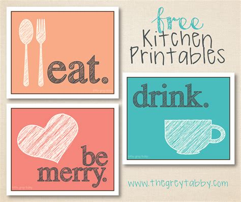free printable kitchen poster free kitchen printables eat drink and be merry the