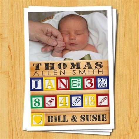 Handmade Birth Announcements - made custom birth announcements wood block by paul
