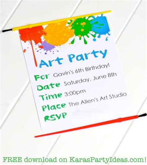 free printable art birthday invitations kara s party ideas colorful art party with tons of ideas