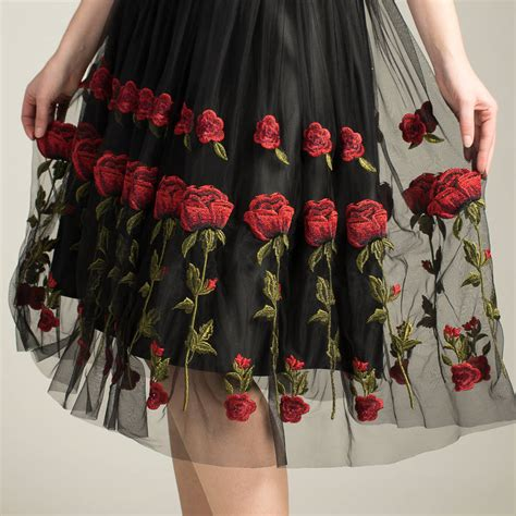 Handmade Tulle Skirt - handmade rosie skirt with tulle embroidered roses by