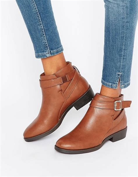 new look new look buckle flat ankle boot