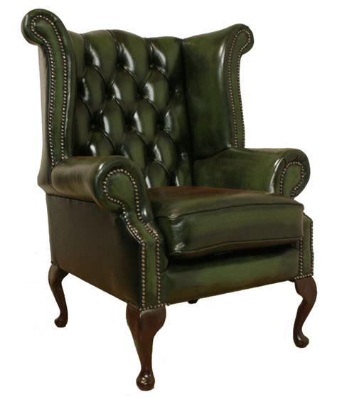 Chesterfield Wing Armchair by Chesterfield Armchair High Back Fireside Wing Chair Green Leather Ebay