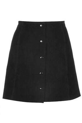 suede button front a line skirt