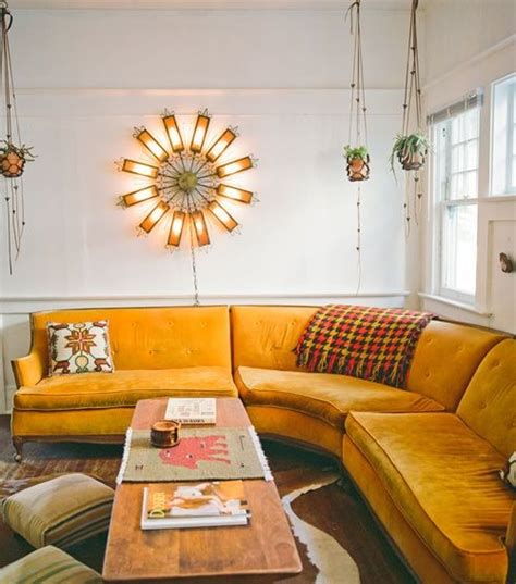 70s style living room 70 s sectional and light fixture vintage decor to die for mustard living