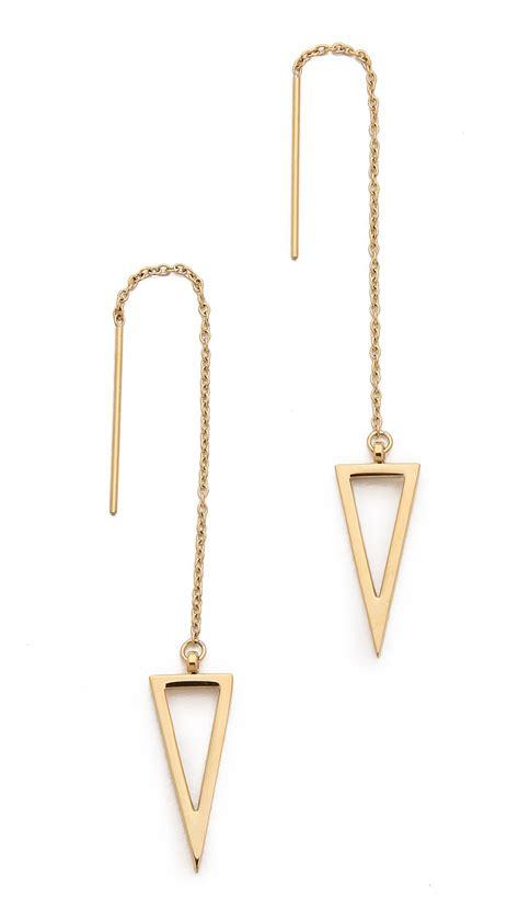 Threader Earrings minkoff triangle frame threader earrings in