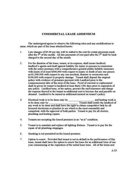 addendum lease agreement template