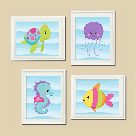 Turtle Nursery Decor Sea Animals Wall Nursery Decor Bathroom Turtle Tech