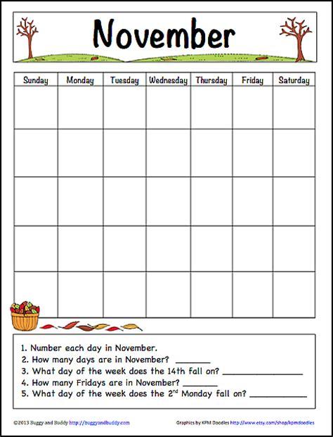 children s calendar template november learning calendar template for free printable