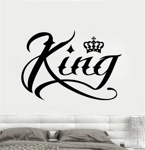 tattoo fonts king and queen vinyl wall decal king word inscription crown stickers