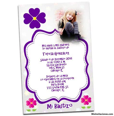 invitaci n de bautizo de ni a para imprimir tarjetas fiestas y invitacion con florecita para ninas invitaciones para