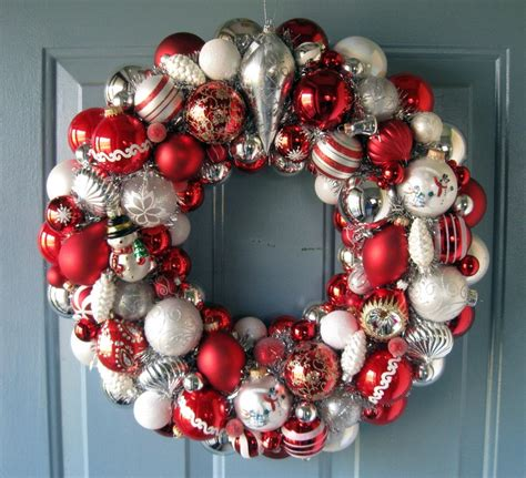 peppermint wreath of vintage ornaments christmas pinterest