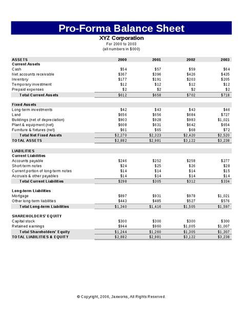 Pro Forma Balance Sheet Template by Proforma Balance Sheet Hashdoc