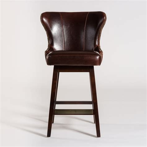 Leather Bar Stool Furniture by Belfort Leather Rockwell Upholstered Leather Bar Stool
