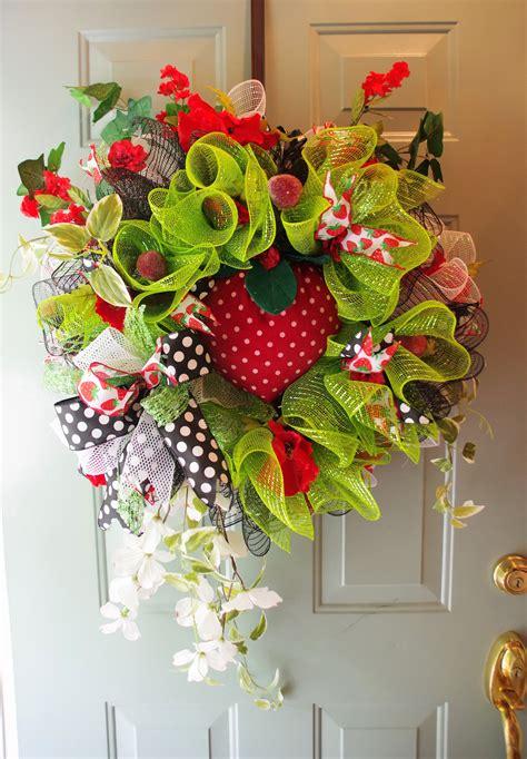 summer wreath deco mesh wreath strawberry fruit wreath