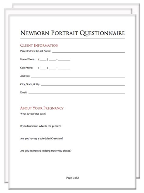 newborn photography contract template photography client questionnaire packet