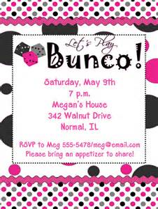 polka dots bunco invitations