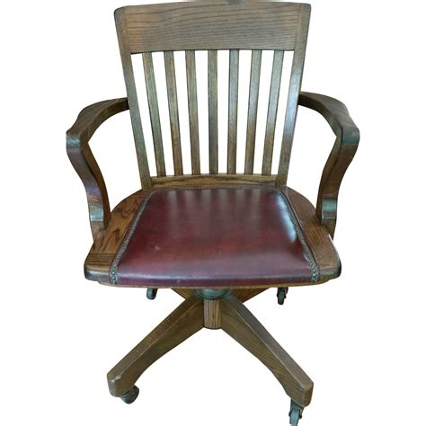wood and leather swivel desk chair vintage jasper seating co solid wood leather banker