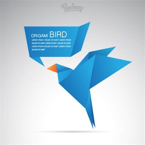 Origami Illustrator - blue origami bird free vector in adobe illustrator ai