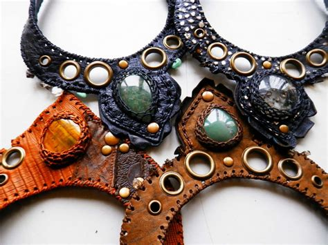 Handmade Leather Necklaces - paradox handmade leather necklace with gemstone