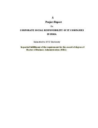 Mba Project On Corporate Social Responsibility Pdf by A Project Report On Corporate Social Responsibility Of It