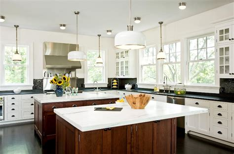 2 White Soapstone kitchen with 2 islands transitional kitchen emily gilbert photography