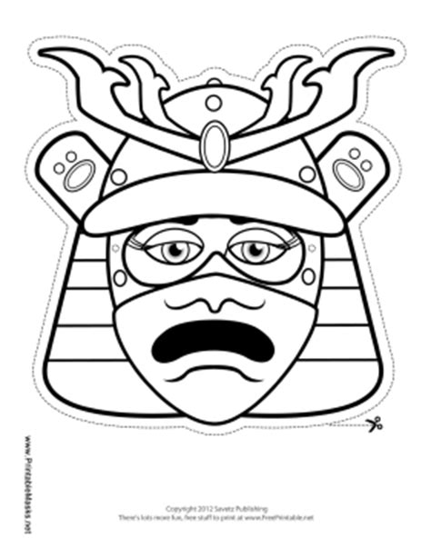 Outline In Color Masks Japanese by Printable Samurai Mask To Color Mask