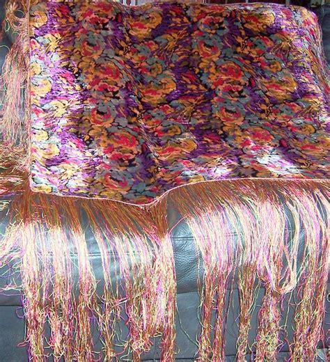 Quality Jilbab Kerudung Pashmina Satin Velvet Gold 1920 s deco multi colored silk velvet shawl with silk fringe from patriciajonsfinest on ruby