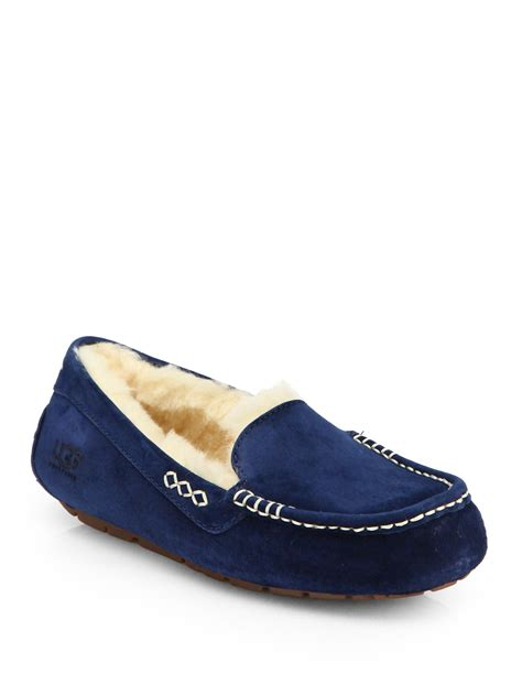 ugg suede slippers ugg ansley suede shearlinglined slippers in blue lyst